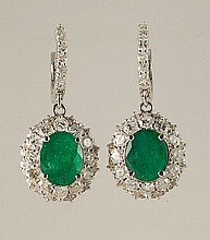 8.26ct Emerald & Diamond Earrings