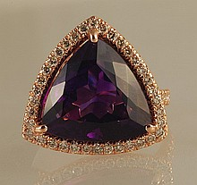 10.96ct Trillion-Cut Amethyst and Diamond Ring