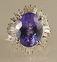 9.45ct Tanzanite and Diamond Ring in White Gold