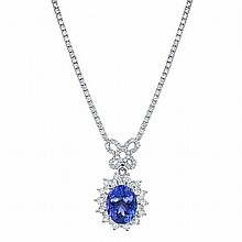 7.42 ct Tanzanite & 4.13ct Diamond Necklace 18K