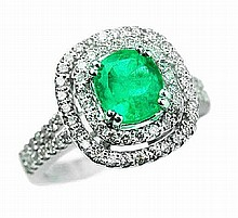 1.04ct Emerald & 0.72ct Diamond 14K Ring