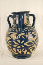 Vintage Etched Cobalt Vase