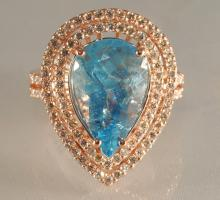 6.37ct Pear Cut  Aquamarine & Diamond Ring