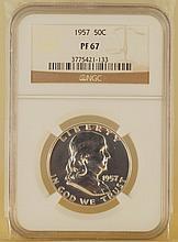 Franklin Half Dollar Silver Coin 1957 50C PF67