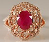 3.87 Carat Ruby and Diamond Ring 14K Pink Gold