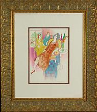 Itzchak Tarkay, Original Water color, hand signed