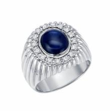 6.85ct Star Sapphire and Diamond Ring