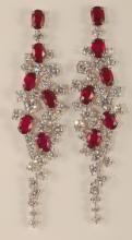 13.10 Carat Ruby and Diamond Earrings 18K G