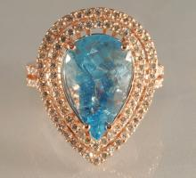 54196.37ct Pear Cut  Aquamarine & Diamond Ring