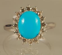 2.48ct Diamond and Turquoise Ring in White Gold