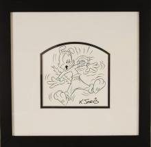K. Jarvis original Ink and pencil sketch, hand sig