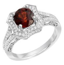 4.62 CT Garnet and Diamond Ring 18K WG