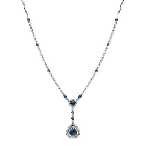 9.40 Carat Diamond and Sapphire Necklace