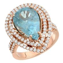 6.37ct Pear Cut  Aquamarine & Diamond Ring