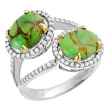 3.47ct Copper Turquoise & Diamond Ring in White Go