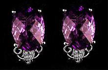 11.70 CT Amethyst and 0.272 CT Diamond Earrings