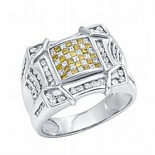 14K White Gold Cast Diamond Ring