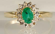 0.48ct Emerald & 0.07ct Diamond Ring (14K Gold)