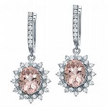 7.29 ct Diamond & Morganite Earrings