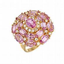 5.49ct Pink Sapphire & 0.62ct Diamond Ring
