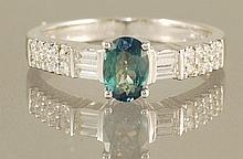 18K  1.11CT ALEXANDRITE & DIAMOND RING