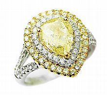 2.76 ct Fancy Yellow Diamond Ring set in 18K Gold
