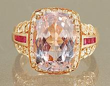 9.44 carat KUNZITE& DIAMOND RING