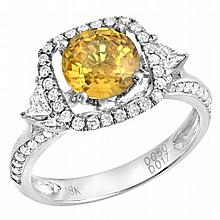 2.4 carat Yellow Sapphire and Diamond Ring 18K WG
