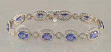 13.8 Carat Tanzanite and Diamond Bracelet In Gold