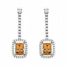 5.40 Carat Topaz and Diamond Earrings in 14K WG