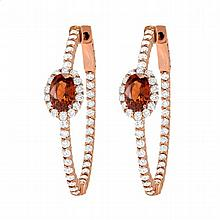 2.8ct Diamond & Garnet Hoop Earrings in Rose Gold