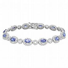 8.56 Carat Tanzanite and Diamond Bracelet 14K Gold