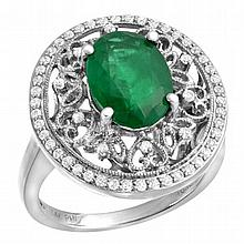 2.75 Emerald and Diamond Ring 14K WG