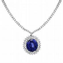 14K 11.42ct Diamond & 26.35 Tanzanite Necklace
