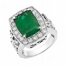 1.15 ct Diamond & 4.99 ct Emerald Ring