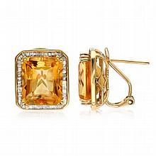 12.35 CT Citrine and  0.703 CT Diamond Earrings