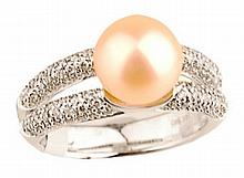 0.42 ct Diamond & Pearl (4.26) set in White Gold