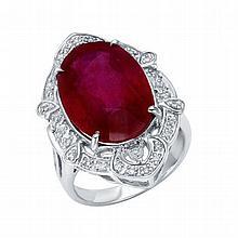 14K 0.13ct Diamonds & 13.03ct Ruby Ring