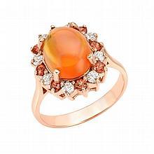0.37ct  Diamonds, 0.46 ct Sapphire, 2.80 ct Opal