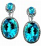 16.56 Carat Blue Topaz and Diamond Earrings