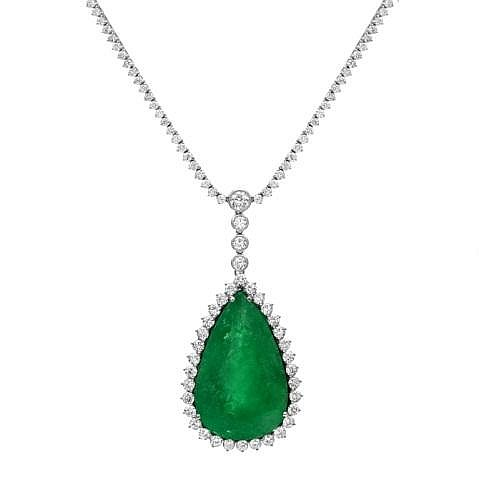90.36ct Emerald & 10.85ct Diamond Necklace 18K