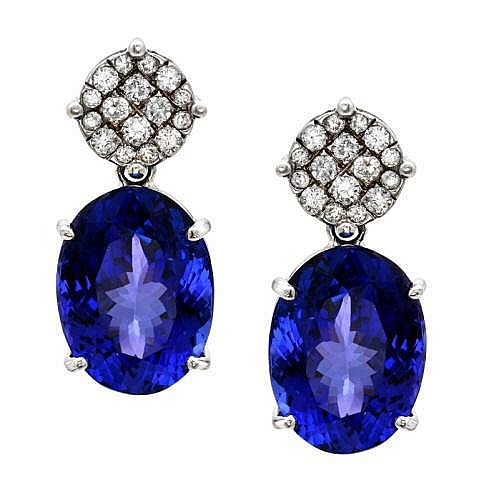 14K 1.00ct Diamond & 34.36ct Tanzanite Earrings