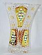 Czech Bohemian Crystal Enamel Vase 24K 10.5