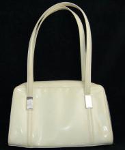 Ivory Tone White Gucci Vinyl Hand Bag/Purse