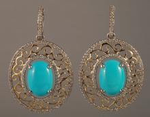 8.83 Carat Turquoise and Diamond Earrings 14K Gol