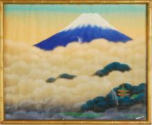 Mt. Fuji Painting on Silk, Framed