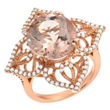 7.44 Carat Morganite and Diamond Ring 14K Gold