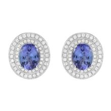4.54 Carat Tanzanite and Diamond Earrings 14K Gold