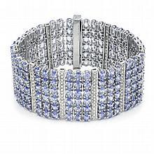 44.96ct Tanzanite & Diamond Bracelet