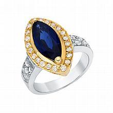 0.65ct Diamond & 2.16ct Sapphire Ring, set in 18K